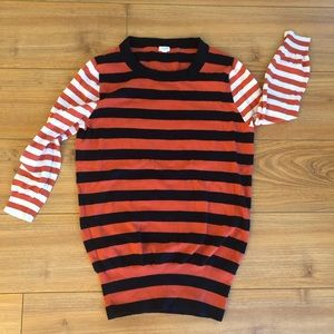 J Crew Striped 3/4 Length Sweater